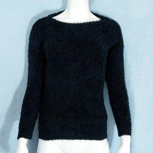 Derek Hart Girl Soft Fuzzy Black Crew Neck Sweater